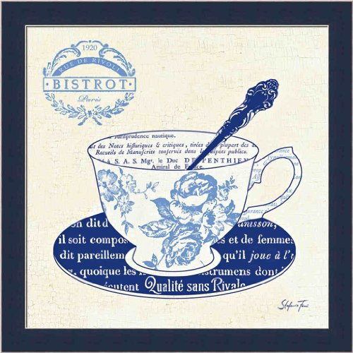 Blue Tea Cups I by Stefania Ferri French Floral 13.5x13.5 Framed Art Print Picture Wall Décor