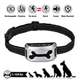 Cheap Bark Collar Harmless Anti-Barking Dog Collars Vibration Static Shock Bark Control Device for Small Medium Large Dogs,Rechargeable & Rainproof (Silver)