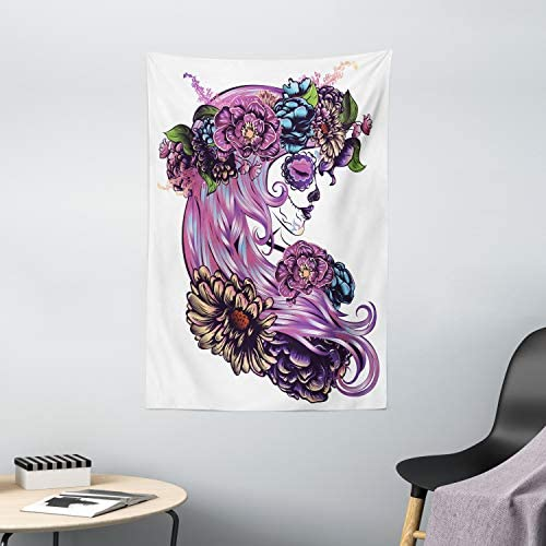 Ambesonne Gothic Tapestry, Day of Dead Illustration with Sugar Skull Girl in Flower Wreath, Wall Hanging for Bedroom Living Room Dorm Decor, 40 X 60 , Purple Pink