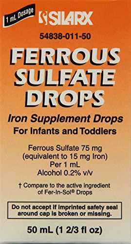 Ferrous Sulfate Iron 15mg/ml Supplement Drops 50ml Bottle -Pack of 3-