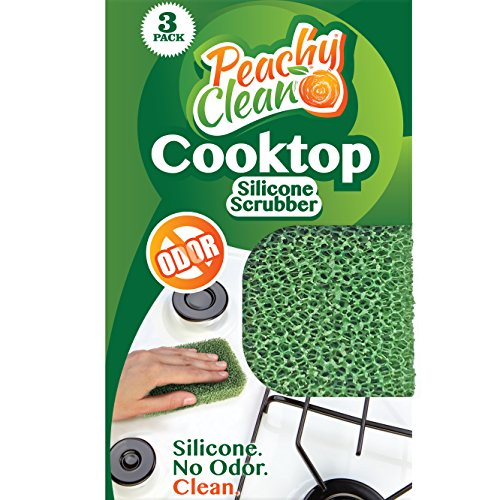 Peach Antibacterial - Peachy Clean Silicone Scrubber (Qty 3) - Cooktop Scrubber