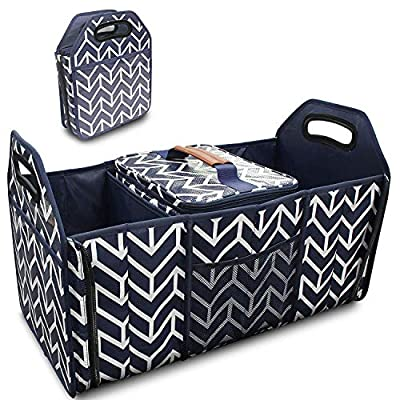 Trunk Organizer, Foldable Car Storage Bag Portable Insulation Cooler Bag Collapsible Vehicle Organizer Divider Storage Totes with 3 Compartment Cargo Tote for Groceries Caddy SUV: Home & Kitchen
