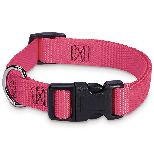 "Guardian Gear Nylon Adjustable Dog Collar, Fits Necks 6"" to 10"", Flamingo Pink"