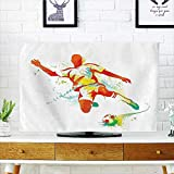 Jiahonghome Cord Cover for Wall Mounted tv Collection Soccer Player Kicks The Ball Competitions Paint Splashes Speed Boots Art Print Cover Mounted tv W35 x H55 INCH/TV 60''