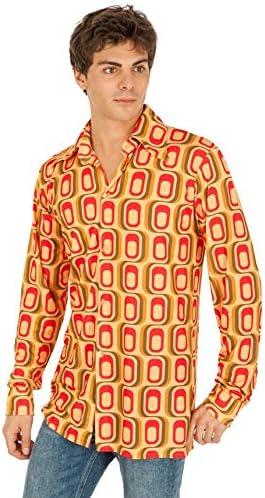 Chaks c4404 m, Camisa Disco diseño Cuadrado Amarillo/Rojo para Hombre, Talla M: Amazon.es: Hogar