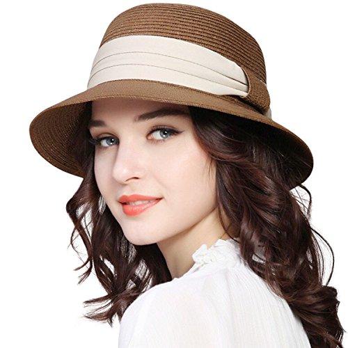 Lanzom Women Wide Brim Straw Foldable Roll up Cap Fedora Beach Sun Hat UPF50+ (Coffee)