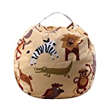 Becoler Stuffed Animal Plush Toy Storage Bean Bag -Cotton Canvas Toy Organizer Soft Pouch Stripe Fabric Chair for Kids Bedroom Perfect Storage Toys, Blankets and Clothes