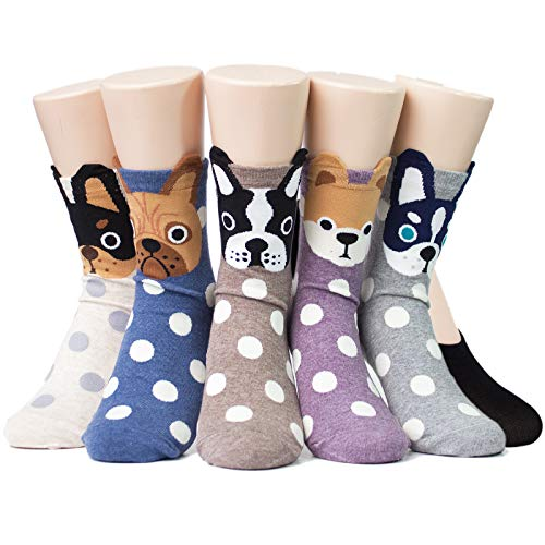Socksense Hello Puppy Dogs Women's Socks 5pairs(5color)=1pack One ()