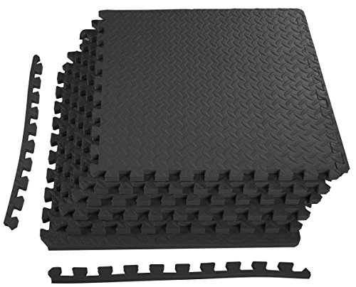 BalanceFrom Puzzle Exercise Mat with EVA Foam Interlocking Tiles (Black) - Interlocking Foam Puzzle Mats