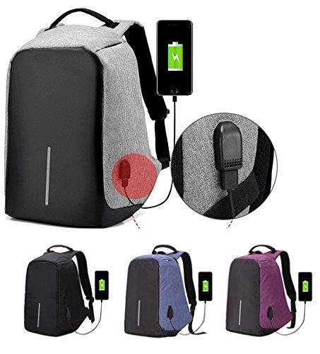 Theoutletablet® Mochila Portatil con Puerto De Carga Externa USB/Mochila Ligera Anti-Robo Escolares/Negocios / Viajes, etc... Color Gris: Amazon.es: ...