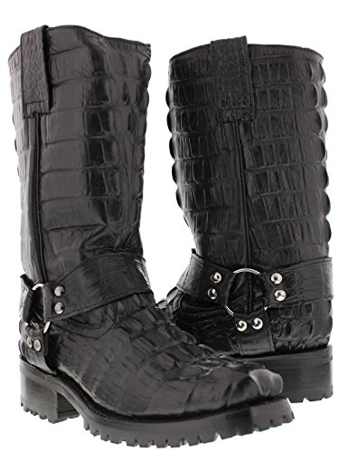 El Presidente - Men's Black Full Crocodile Tail Leather Biker Boots Square Toe 14 2E US