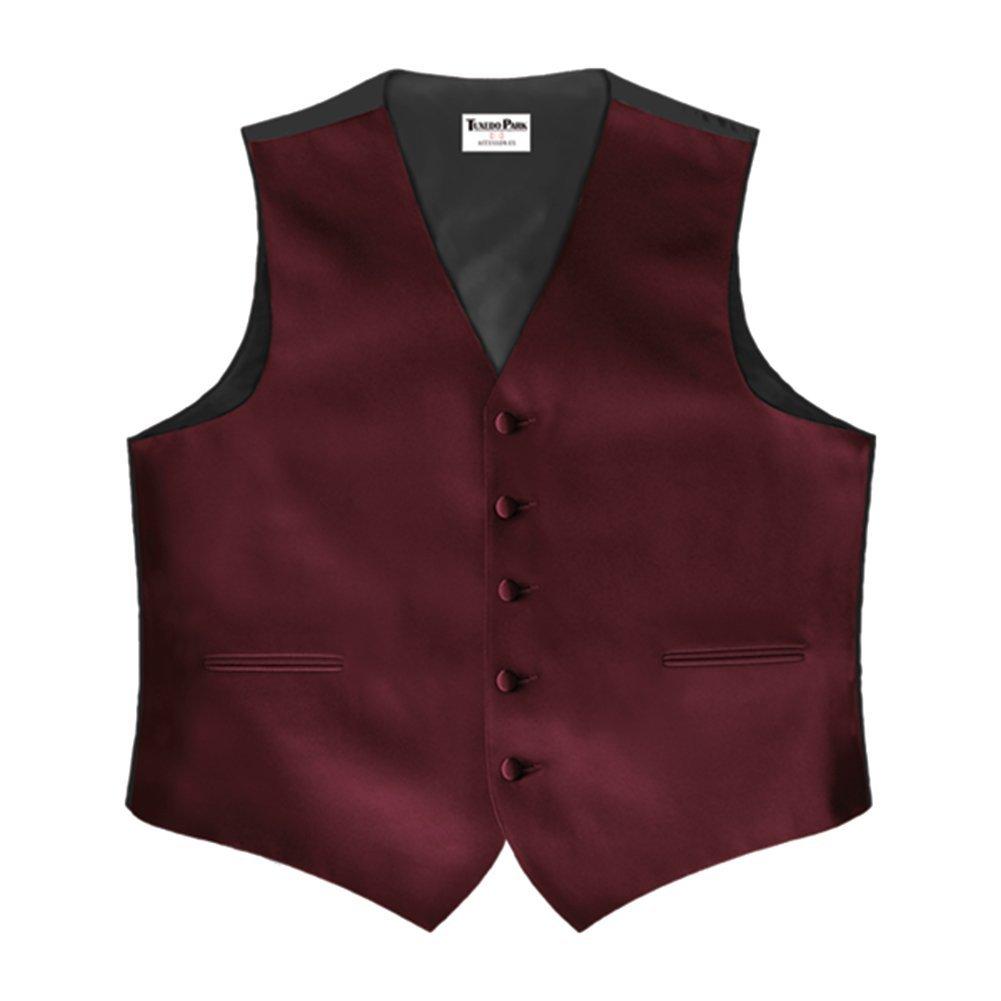 Burgundy Satin 5 Button Full Back Vest