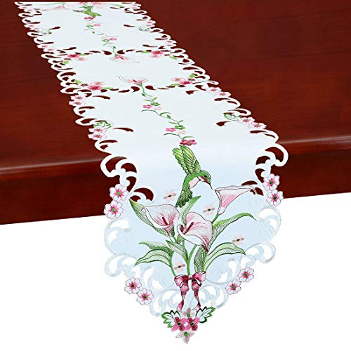 Simhomsen Embroidered Floral Table Runners for Spring and Summer, Hummingbird Flying on Calla Lily Flowers (13×53 inch)