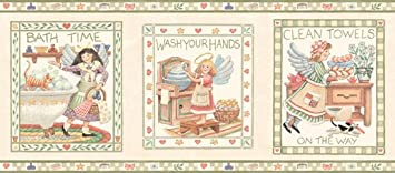 Bathroom And Country Angels Wallpaper Border   Green Edgeu2026