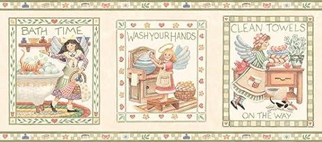 Bathroom And Country Angels Wallpaper Border   Green Edgeu2026