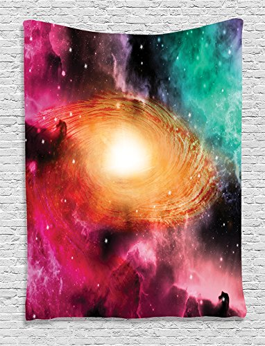 Colorful Hanging (Constellation Tapestry Science Room Decor by Ambesonne, Colorful Astronomy Pictures of a Spiral Galaxy Stars and Stardust, Bedroom Living Teens Dorm Accessories Wall Hanging, Magenta Orange)