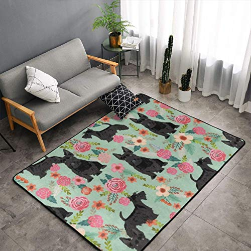 LIN. Memory Foam Area Rug for Hotel Children Bedroom Dorm Room, Non Skid Backing Floor Pad Rugs Luxurious Throw Rugs Runner, Machine Washable, Black Scottie Dog