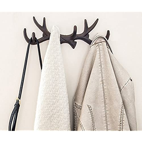 Vintage Cast Iron Deer Antlers Wall Hooks By Comfify | Antique Finish Metal Clothes  Hanger Rack W/ Hooks | Includes Screws And Anchors | In Rust Brown ...