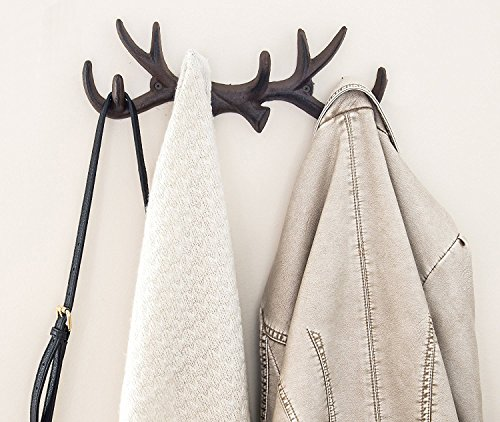 Cabin Towel Racks (Vintage Cast Iron Deer Antlers Wall Hooks by Comfify | Antique Finish Metal Clothes Hanger Rack w/ Hooks | Includes Screws and Anchors | in Rust Brown (Antlers Hook CA-1507-26))