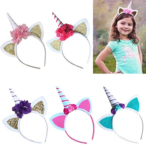 Amazon.com  BUYITNOW Girls Unicorn Headband Kids Cat Ear Hair Hoop Birthday  Party Headwear  Clothing ec9674f170c8