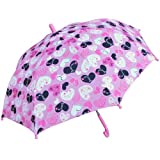 RainStoppers W104CHCHRT Girl's Crazy Heart Print Umbrella, 34-Inch