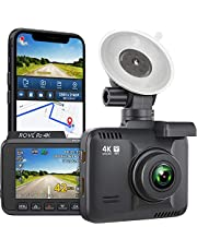 """ROVE R2-4K Dash Cam with WiFi and GPS 2160p Ultra-HD 2.4"""" LCD Dashboard Camera Recorder for Cars with G-Sensor, 150° Wide Angle, Star Light Night Vision"""
