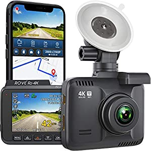 ROVE R2-4K Dash Cam with WiFi and GPS 2160p Ultra-HD 2.4″ LCD Dashboard Camera Recorder for Cars with G-Sensor, 150° Wide Angle, Star Light Night Vision