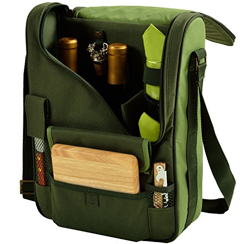 Picnic at Ascot - Wine Carrier Deluxe with Glass Wine Glasses and Accessories for Two, Eco (Eco Carrier)