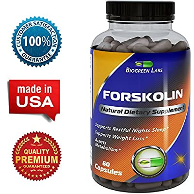 Pure Forskolin Extract- Weight Loss -250 mg capsules -Appetite Suppressant-Get Thin Lose Weight -Best Natural Diet Supplement - Fat Burner Pills - Premium Coleus Forskohlii Root - Biogreen Labs