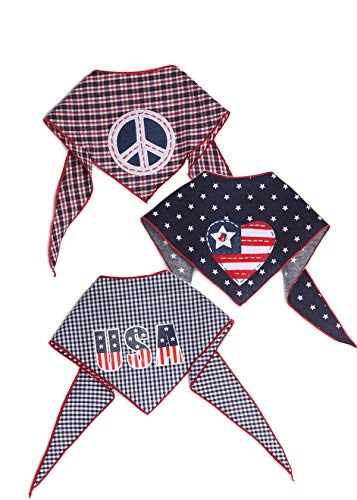 Tail Trends 4th of July 3 Pack Pet Dog Bandanas with Peace Sign Braveheart and USA Applique Designs - 100% Cotton]()