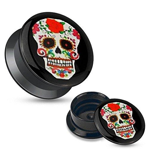 Earrings Rings Red Sugar Skull Black Acrylic Stash Screw Fit Plug pair 2g]()