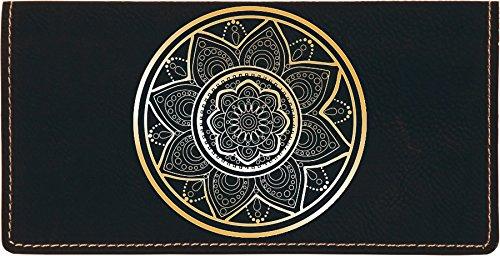 (Mandala Laser Engraved Leatherette Checkbook Cover)