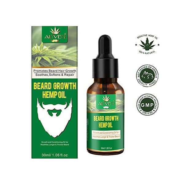 PREMIUM Natural Beard Hemp Oil with Infused Jojoba Oil, Cedarwood Oil, Macadamia Oil Promotes Beard Growth, Conditions, Strengthen for Shine Healthier Stronger Fuller Looking Beard FULL HYDRATION