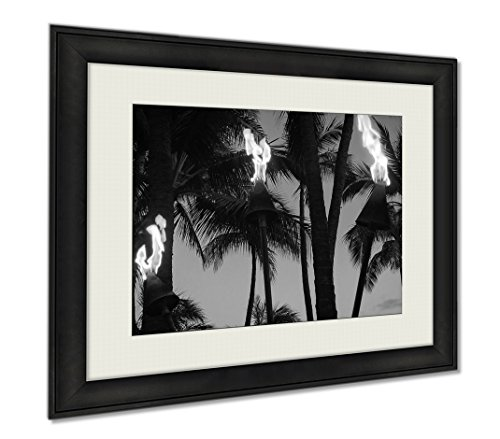 Ashley Framed Prints Tiki Torches Burning On Waikiki Beach At Night, Wall Art Home Decoration, Black/White, 26x30 (frame size), AG6402634 by Ashley Framed Prints