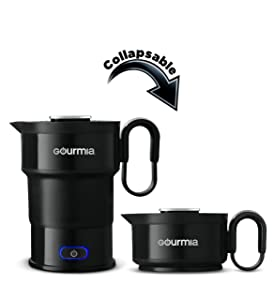 Gourmia GK348 Electric Collapsible Travel Kettle - Foldable & Portable - Fast Boil - Easy Storage - Water Heater For Coffee, Tea & More - Food Grade Silicone - Boil Dry Protection -20 oz capacity - Black