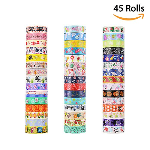 Tape Japan - 45 Rolls Washi Tape, Decorative Adhesive Washi Masking Tapes Sticker for Scrapbooking DIY Crafts and Gift Wrapping