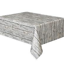 """Rustic Wood Plastic Tablecloth, 108"""" x 54"""""""