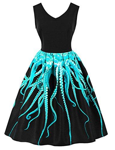 Sleeveless Cocktail Octopus03 Dress Women's Black V Neck Vintage Christmas Killreal Swing wTCFtU