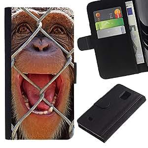 eJoy---La carpeta del tirón la caja de cuero de alta calidad de la PU Caso protector - Samsung Galaxy Note 4 IV - --The Chimpanzee