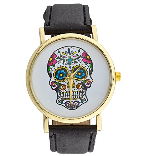 [Lux Accessories Day of the Dead Sugar Skull Watch] (Costume Ideas For Day Of The Dead)