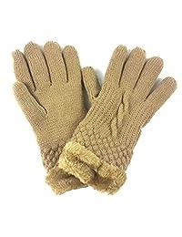 Lina & Lily Fashion Women's Winter Knitted Warm Gloves Faux Fur Trim (Tan/Beige)
