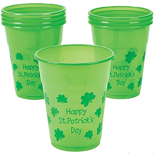 St. Patrick's Day Disposable Cups - Green Shamrock Party Beer Drink Cups - 25 Piece Pack - 16 -