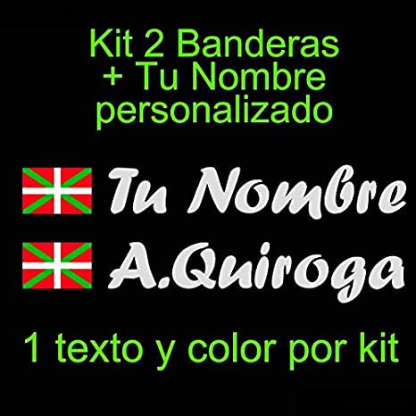 + tu Nombre Pala De Padel Moto Ikurri/ña Bici Coche Monopatin etc Kit de Dos Vinilos Blanco Vinilin Vinilo Bandera Pais Vasco Casco