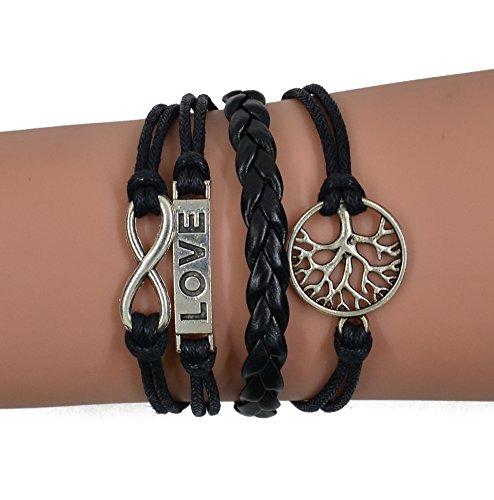CAETLE ® Women Girl Love Lover Tree Infinity Knit Leather Rope Chain Charm Bracelet
