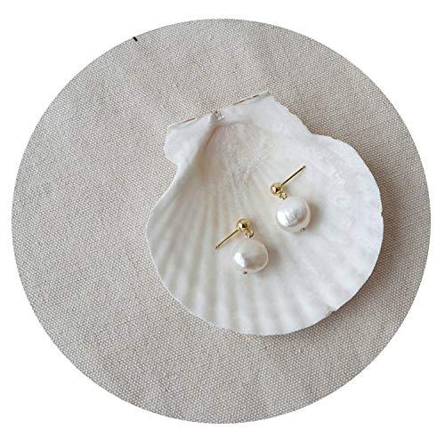(French Baroque Freshwater Pearls Stud Earrings For Women Statement Drop Small Earrings)