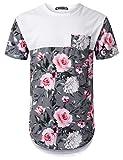 URBANTOPS Mens Hipster Hip Hop Pink Rose Panel Pocket Longline T-Shirt White, L