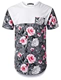 URBANTOPS Mens Hipster Hip Hop Pink Rose Panel Pocket Longline T-Shirt White,XXL