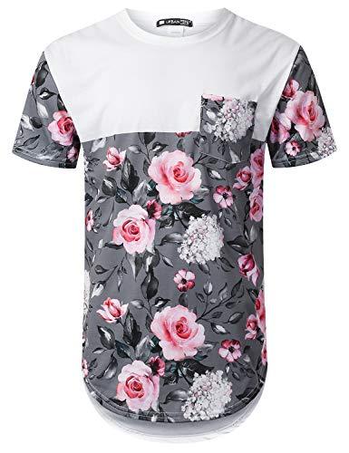 URBANTOPS Mens Hipster Hip Hop Pink Rose Panel Pocket Longline T-Shirt White,XXL -