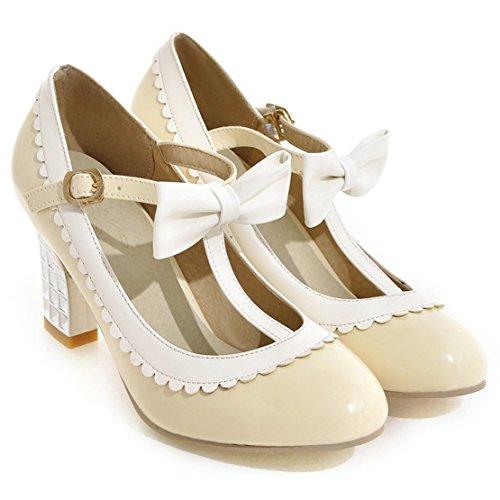 YE Damen T Spangen Rockabilly Pumps Lack Blockabsatz High Heels mit Riemchen und Schleife Elegant Schuhe Beige