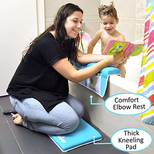 Bath Kneeler with Elbow Rest Pad Set (2-Piece), X-Long, Thick, Knee Cushioned Bathtub Support | Non-Slip Bottom, 4 Caddy Pockets | Hypoallergenic Padding | Blooop Bath Kneeling Pad by Blooop (Image #1)